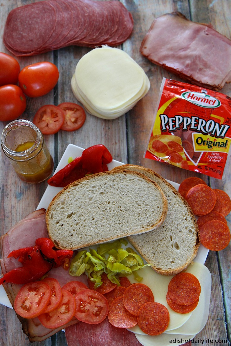 ingredients for Grilled Italian Panini