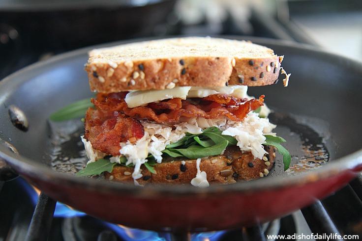 National Grilled Cheese Month Havarti, Turkey, Bacon, Arugula, Roasted Onion Jam