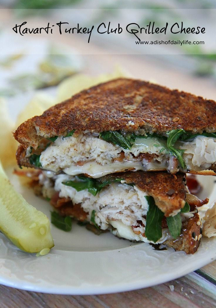The traditional Club sandwich gets a makeover with this Turkey Club Havarti Grilled Cheese for National Grilled Cheese Month