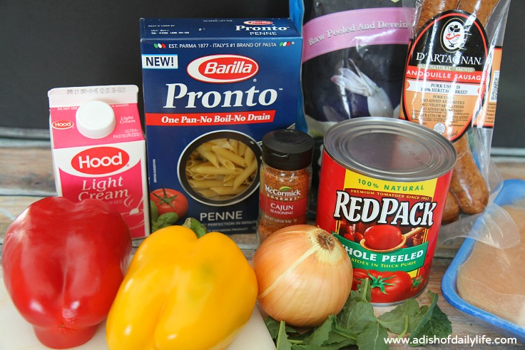 ingredients for Creamy Cajun pasta