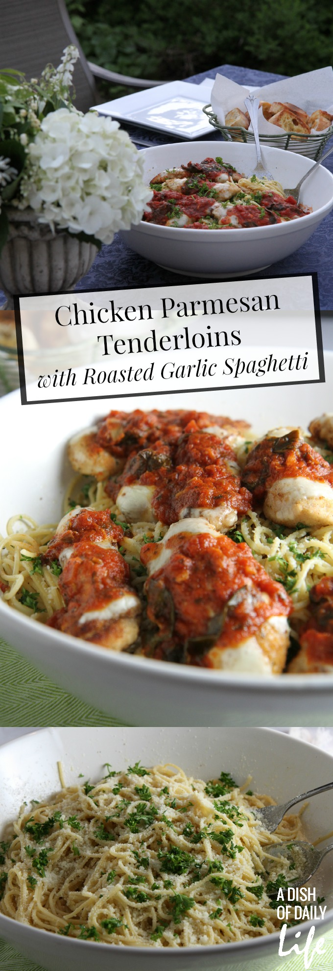 Chicken Parmesan Tenderloins with Roasted Garlic Spaghetti, an easy and delicious family friendly meal!