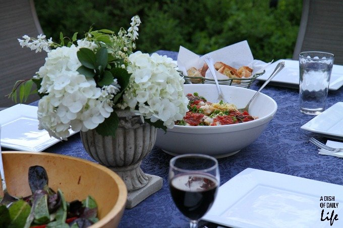 Outdoor table set for dinner