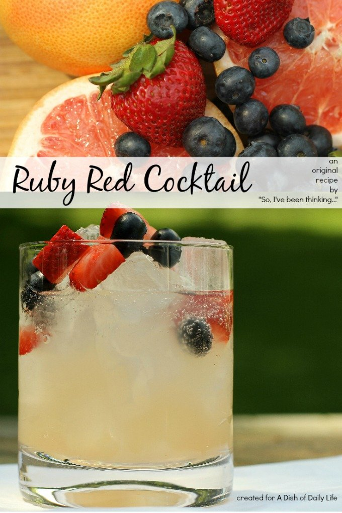 Ruby Red Cocktail...a light, refreshing, easy-to-make summer drink made with Ruby Red grapefruit juice, vodka, and seltzer, and packed with fresh fruit.