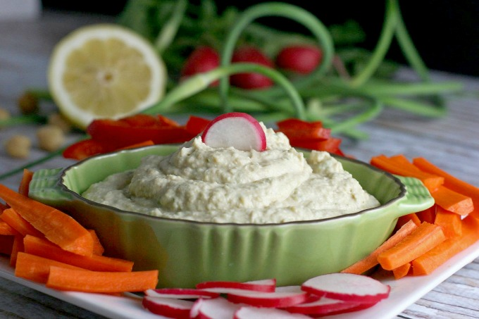 Homemade Hummus with Garlic Scapes...this healthy appetizer is vegetarian, vegan and gluten free.