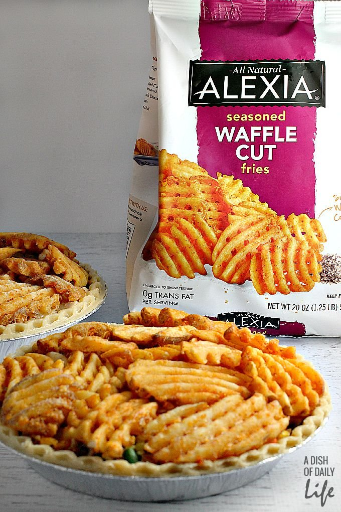 Chicken Pot Pie with Alexia Seasoned Waffle Cut fries