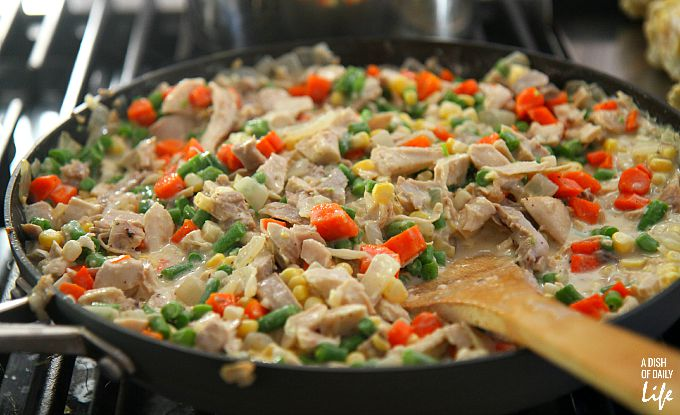 This delicious and healthy chicken pot pie recipe is packed with farm fresh ingredients and flavor! It's also a time saver for busy families...make one for dinner and save one for a freezer meal for when you're really stretched for time.
