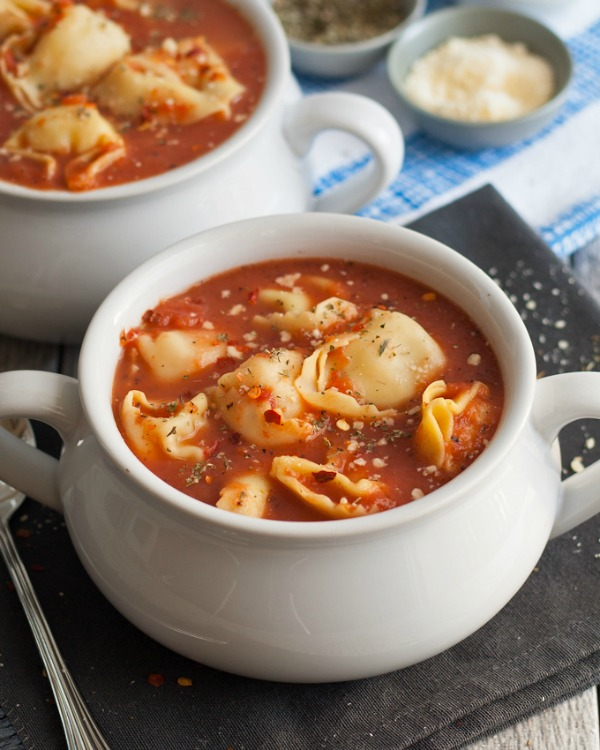 3 ingredient Tomato Tortellini soup + 14 more easy soup recipes for National Homemade Soup Day!