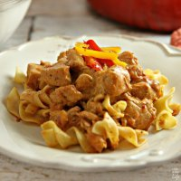 Creamy and delicious, this Hungarian Chicken Paprikash recipe is an easy comfort food dish with a minimum of prep time, perfect for a weeknight dinner!