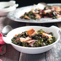 Red swiss chard and charred leeks side dish recipe.