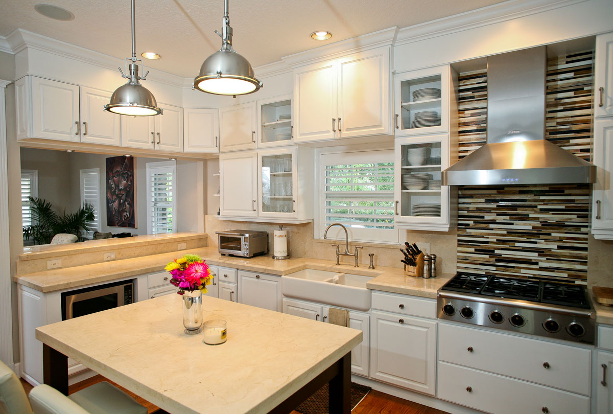 countertop gallery marble kitchen countertops Crema marphil marble Kitchen Farmhouse sink by ADP Surfaces in Orlando Florida