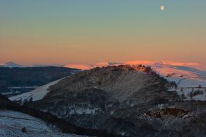 Peaks Snow Sunsrise Moon