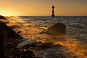 Penmon Lighthouse Sunset Rays