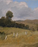 "Malibu Creek. ©2009 By Adrian Gottlieb ©2009, Oil on linen glued to gatorboard  Size: 11""x14""  S.R. Brennen Galleries 73-375 El Paseo, Palm Desert, CA 92260  760-773-9554"