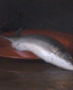 """Self Portrait With Fish, ©2012 By Adrian Gottlieb Oil on Belgian Linen Size: 11"""" x 14"""" S. R. BRENNEN GALLERIES SOLD"""