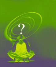 Confused man with green question mark above his head -