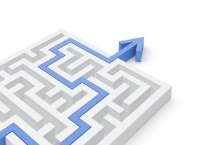 A maze with a blue arrow exiting