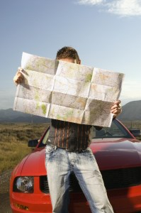 Motorist with map