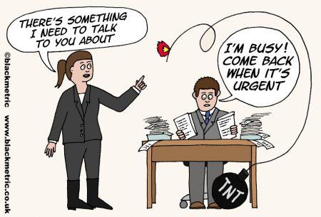 Busy office scene -- cartoon
