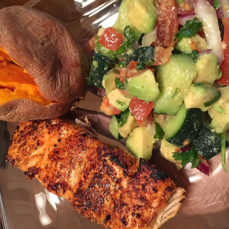 Pan seared salmon avacado salad adrienne m nixon for Asian cuisine hoover al