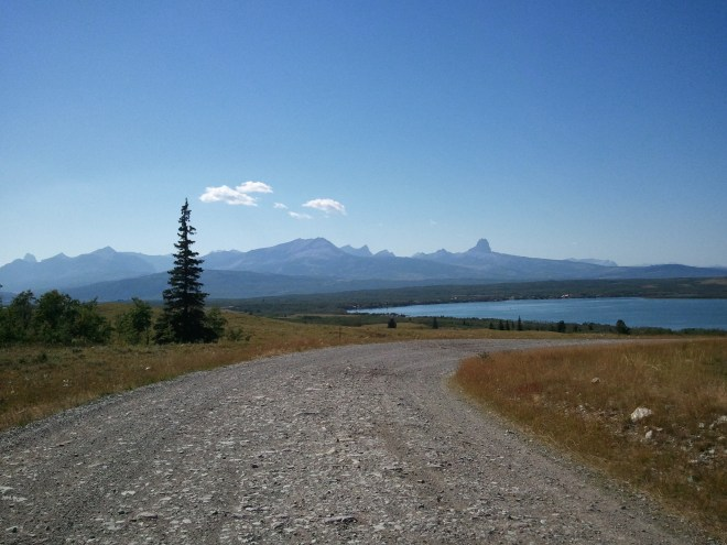 Duck Lake E of Glacier National Park on the Blackfeet Indian Reservation. Lupe never got all the way to the lake. The mountains in Glacier National Park are seen in the distance to the W.