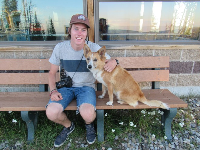 Lupe with Cooper from Sacramento, CA at the Showdown ski resort. Cooper had recently graduated from high school and was off on long adventures of his own now.
