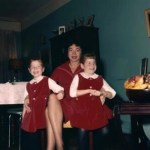 my sister and I with our glamorous mother, and yes, we are wearing those tights!