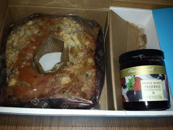 cake and berry preserves
