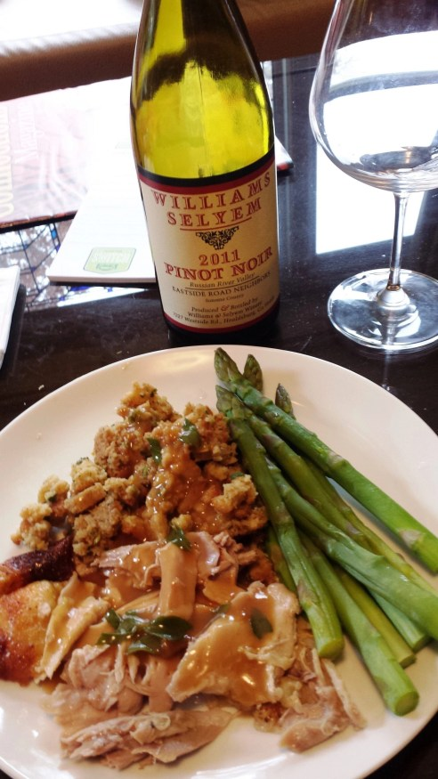 "you don't need a special occasion to make a Jenni-O oven ready turkey...I added a great wine and the trimmings"" and this meal was Sunday Night dinner!"