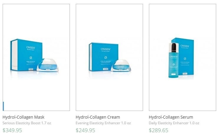 three hydrol-collagen products from onsen