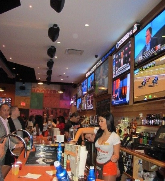 "The New HOOTERS near Madison Square Garden in NYC is the perfect place to see ""The BIG game"" (or any game)"