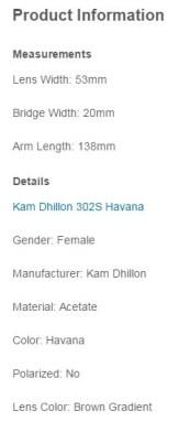 kam Dhillon sunglasses product information