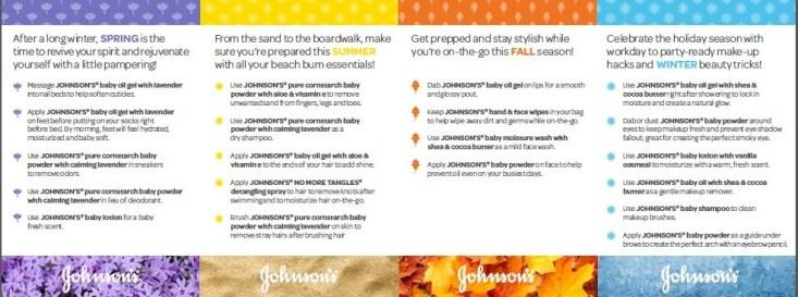 four seasons of beauty tips from Johnson & Johsnon