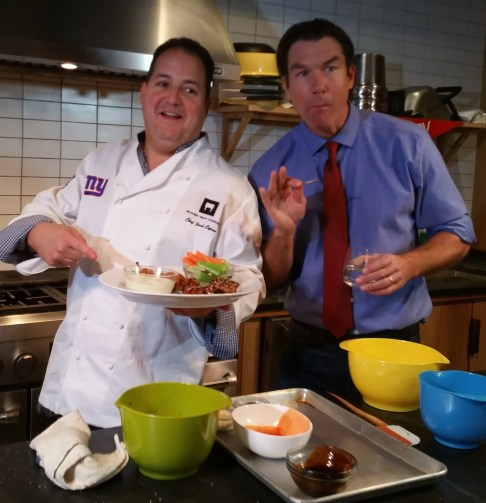Chef Josh Capon and Actor Jerry O'Connell in the kicthen