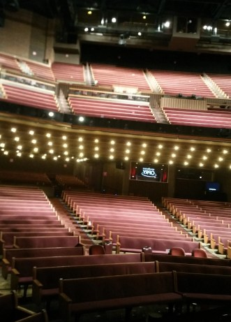 this is the view the performers and the invited guests see from the stage at the Grand Ole Opry in Opryland
