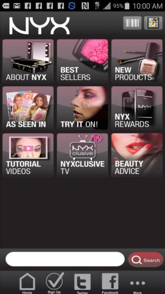 screenshot from the NYX APP