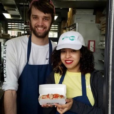 lukes lobster Randa Ebrahim and Kyle Schut serve up the lobster rolls