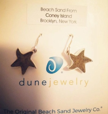 Dune Jewelry with sand from Coney Island in Starfish Earrings