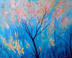 Acrylic painting of blue background and spring blooms on a tree