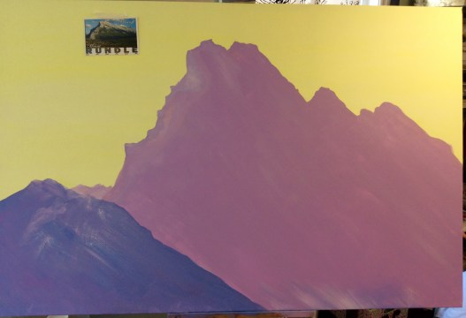 Rundle mountain scaled paint outline 60