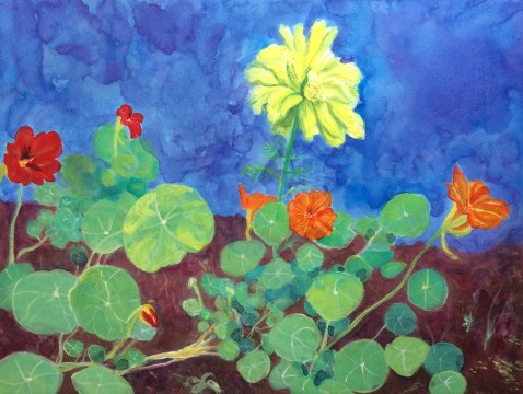 Painting of my Garden Lovelies, marigolds, acrylic on board, 9