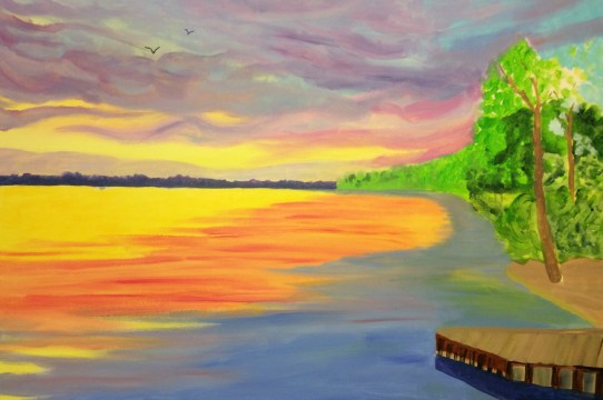 In progress Sunrise painting of Cooks Bay, Ontario