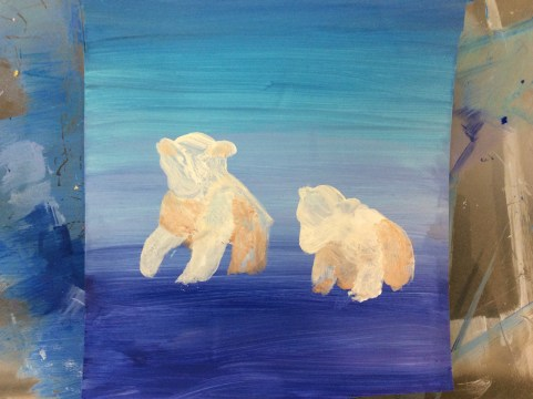 Acrylic painting of Polar bear cubs