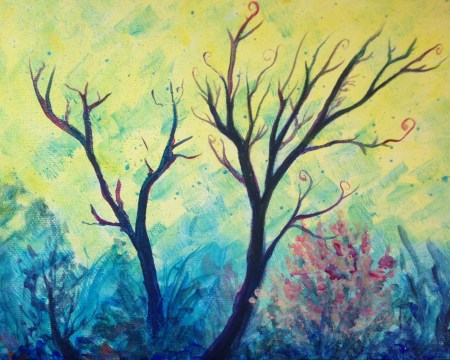 Acrylic painting of Forest scene of barren trees with cool yellow background light