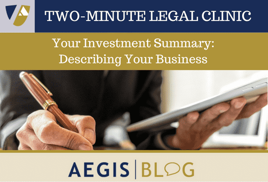 investment summary describing your business