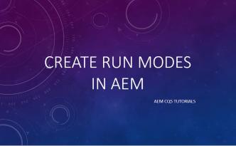 create run modes in aem
