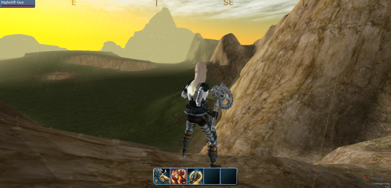 Elf Warrior discovering land beyond a mountain.