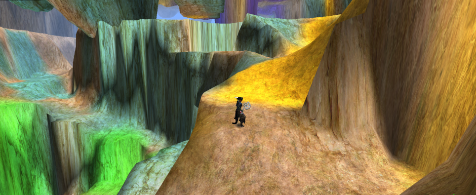 Inside a very colorful cave in a 3D game world.
