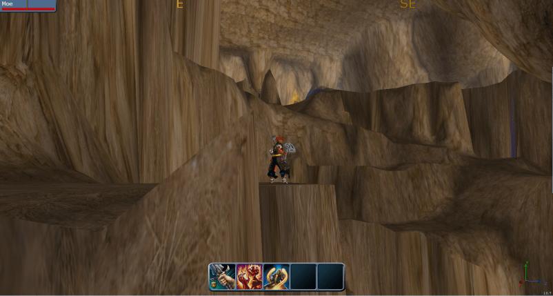 Builder charater inside huge cave.