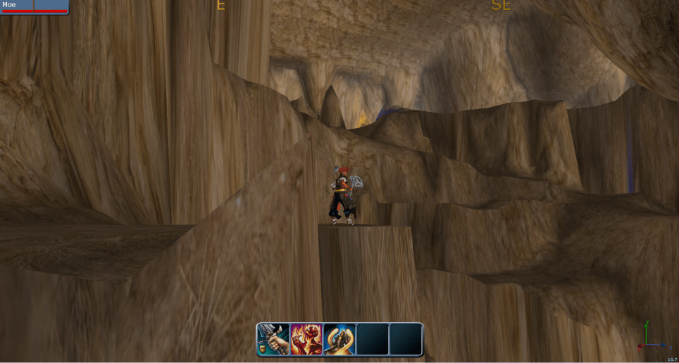 Builder charater inside huge cave.