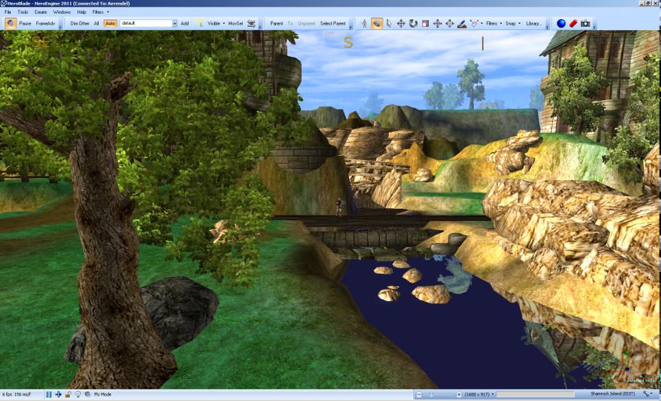 Bright, colourful area around a very blue stream where the waterfalls haven't been added yet.